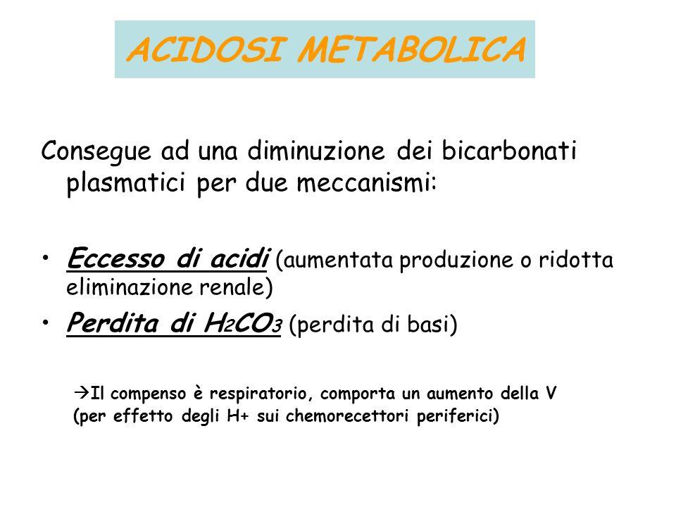 ACIDOSI METABOLICA Consegue ad una diminuzione dei bicarbonati plasmatici per due meccanismi: Eccesso di acidi (aumentata produzione o ridotta elimina