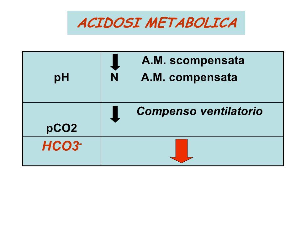 ACIDOSI METABOLICA HCO3 - Compenso ventilatorio pCO2 A.M. scompensata N A.M. compensatapH