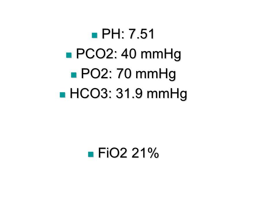 PH: 7.51 PH: 7.51 PCO2: 40 mmHg PCO2: 40 mmHg PO2: 70 mmHg PO2: 70 mmHg HCO3: 31.9 mmHg HCO3: 31.9 mmHg FiO2 21% FiO2 21%