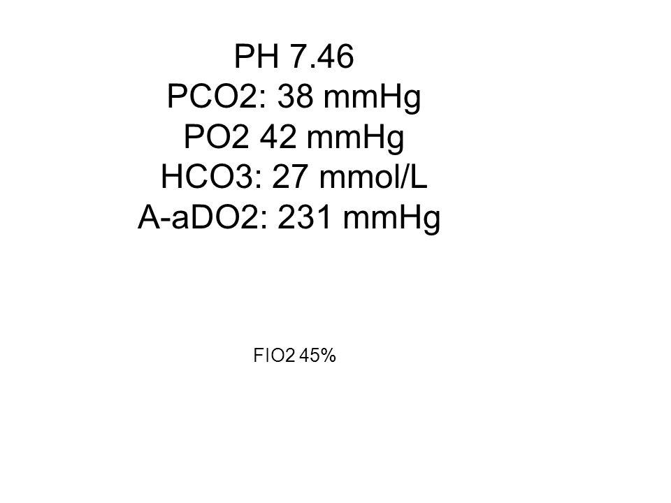PH 7.46 PCO2: 38 mmHg PCO2: 38 mmHg PO2 42 mmHg PO2 42 mmHg HCO3: 27 mmol/L HCO3: 27 mmol/L A-aDO2: 231 mmHg FIO2 45% FIO2 45%