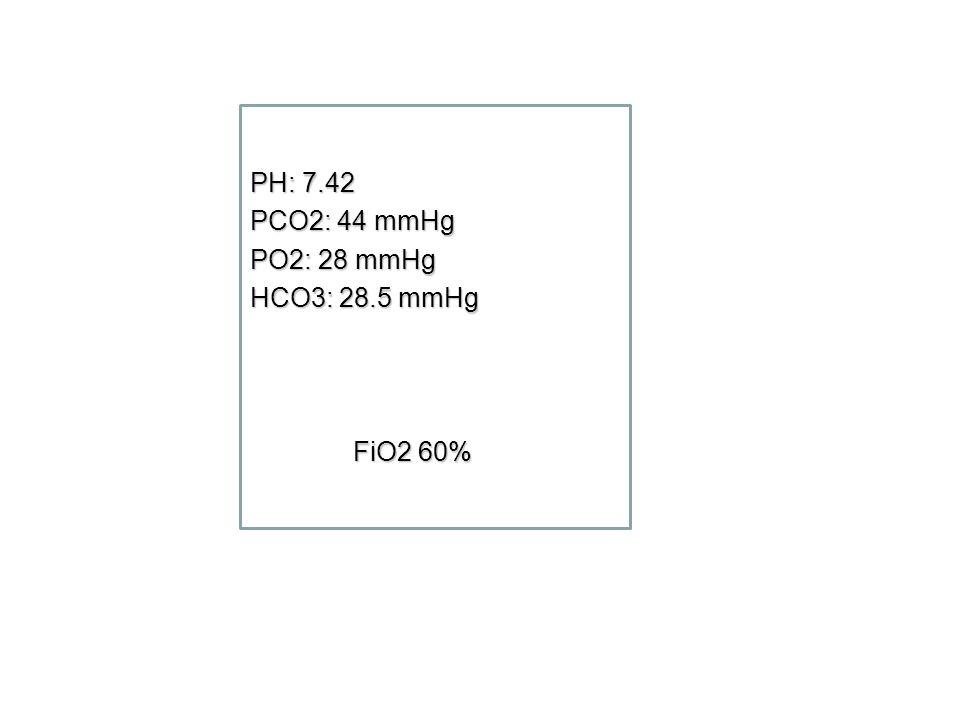 PH: 7.42 PCO2: 44 mmHg PO2: 28 mmHg HCO3: 28.5 mmHg FiO2 60% FiO2 60%