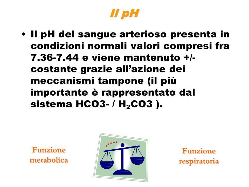 Il pH del sangue arterioso presenta in condizioni normali valori compresi fra 7.36-7.44 e viene mantenuto +/- costante grazie all'azione dei meccanism