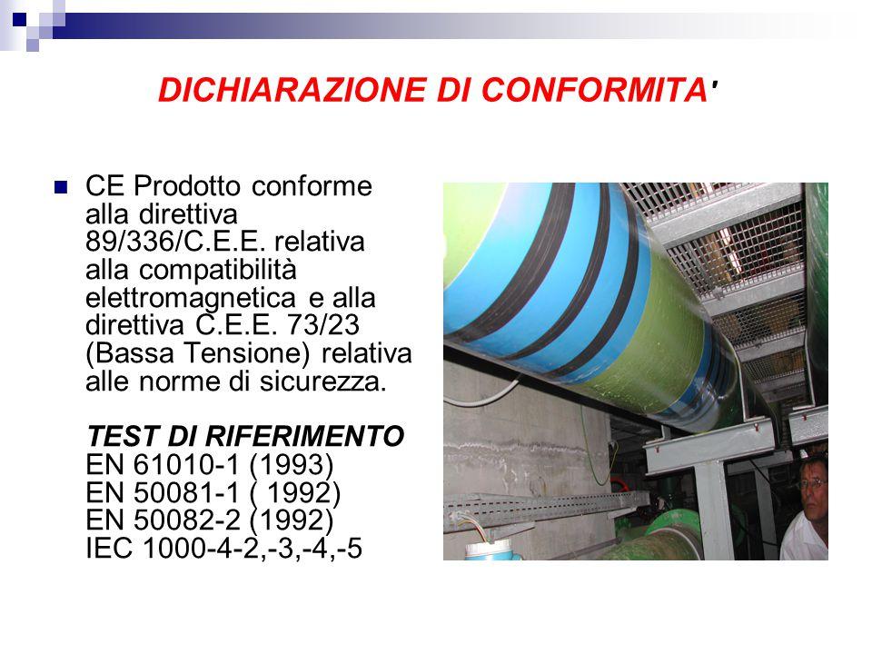 DICHIARAZIONE DI CONFORMITA CE Prodotto conforme alla direttiva 89/336/C.E.E.
