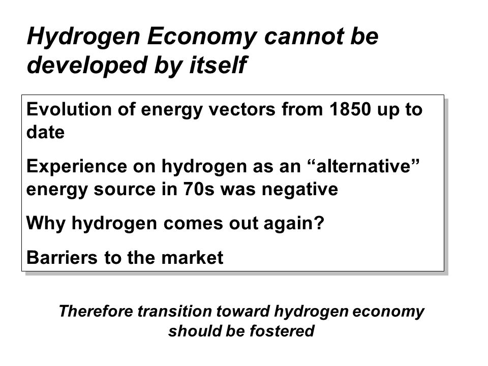 Hydrogen Economy cannot be developed by itself Evolution of energy vectors from 1850 up to date Experience on hydrogen as an alternative energy source in 70s was negative Why hydrogen comes out again.