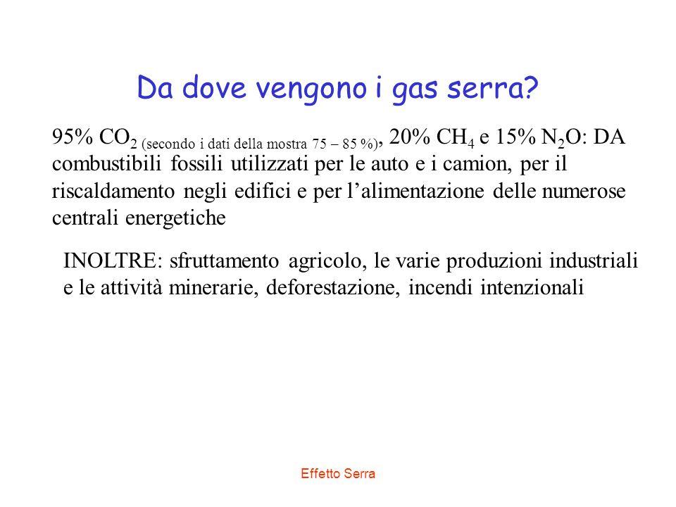 Effetto Serra Da dove vengono i gas serra? 95% CO 2 (secondo i dati della mostra 75 – 85 %), 20% CH 4 e 15% N 2 O: DA combustibili fossili utilizzati