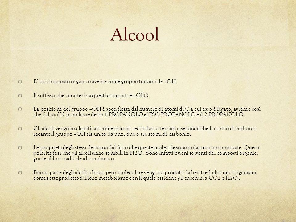 Alcool E ' un composto organico avente come gruppo funzionale –OH. Il suffisso che caratterizza questi composti è –OLO. La posizione del gruppo –OH è