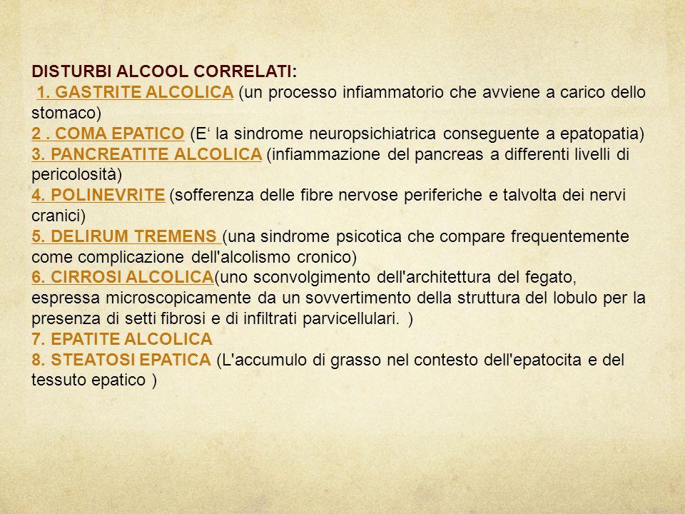 DISTURBI ALCOOL CORRELATI: 1. GASTRITE ALCOLICA (un processo infiammatorio che avviene a carico dello stomaco)1. GASTRITE ALCOLICA 2. COMA EPATICO2. C