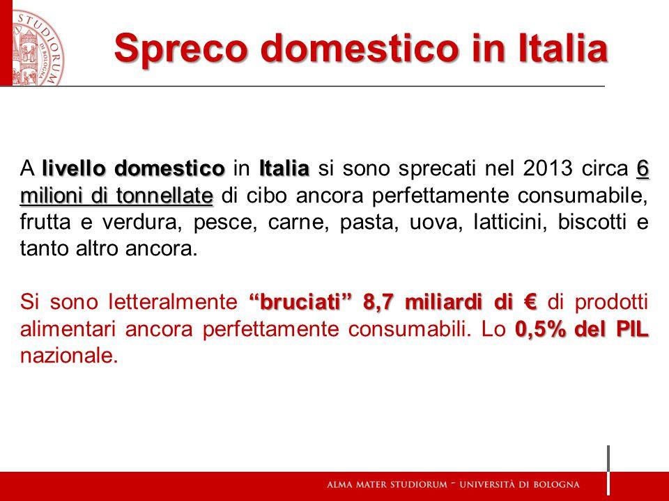 Spreco domestico in Italia livello domestico Italia6 milioni di tonnellate A livello domestico in Italia si sono sprecati nel 2013 circa 6 milioni di