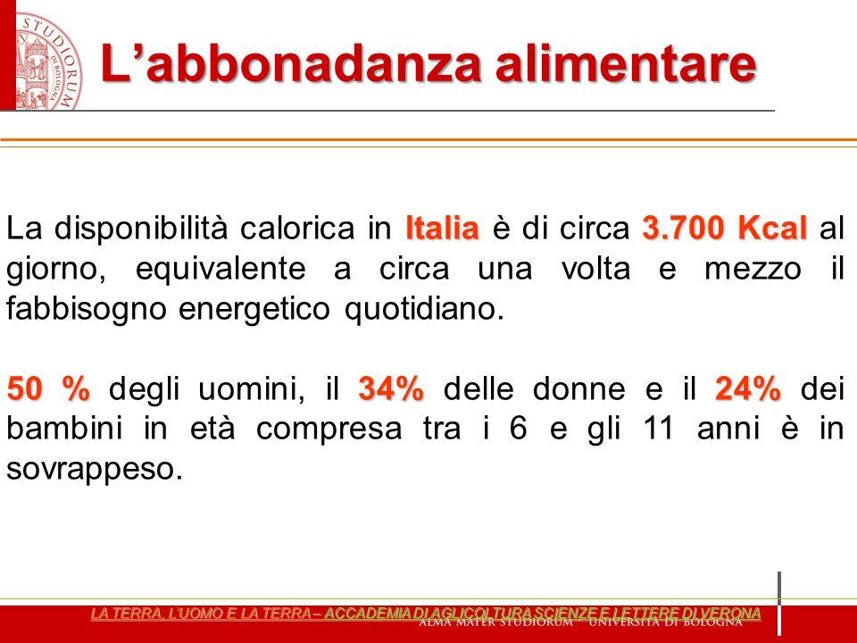 Italia3.700 Kcal La disponibilità calorica in Italia è di circa 3.700 Kcal al giorno, equivalente a circa una volta e mezzo il fabbisogno energetico q