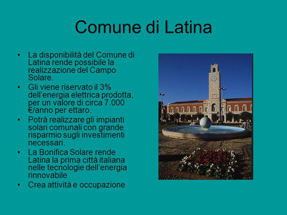 Comune di Latina La disponibilità del Comune di Latina rende possibile la realizzazione del Campo Solare.