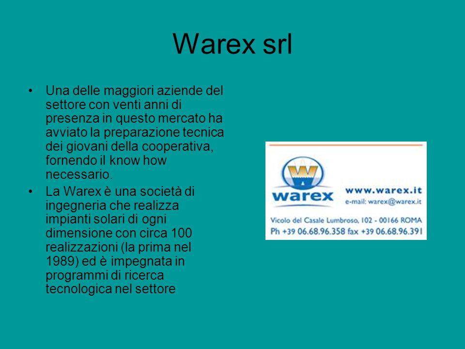 Warex srl Una delle maggiori aziende del settore con venti anni di presenza in questo mercato ha avviato la preparazione tecnica dei giovani della cooperativa, fornendo il know how necessario.