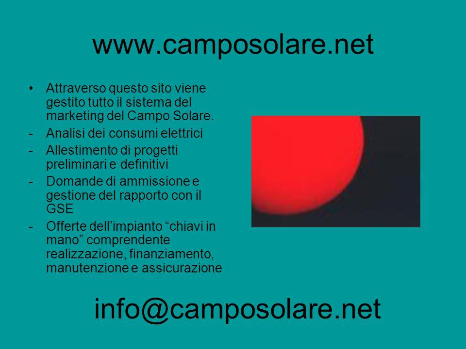 www.camposolare.net Attraverso questo sito viene gestito tutto il sistema del marketing del Campo Solare.