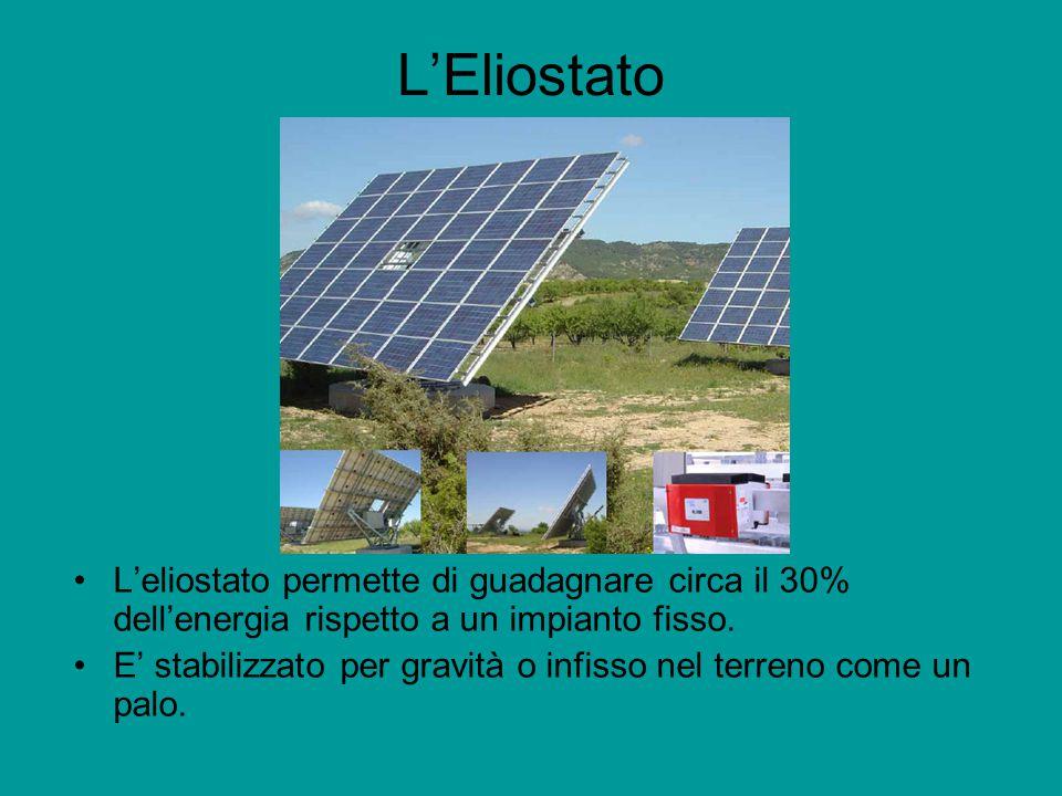 L'Eliostato L'eliostato permette di guadagnare circa il 30% dell'energia rispetto a un impianto fisso.