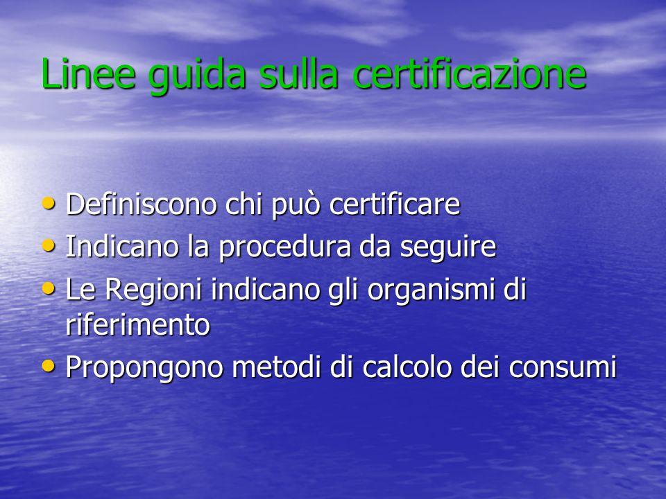 Linee guida sulla certificazione Definiscono chi può certificare Definiscono chi può certificare Indicano la procedura da seguire Indicano la procedura da seguire Le Regioni indicano gli organismi di riferimento Le Regioni indicano gli organismi di riferimento Propongono metodi di calcolo dei consumi Propongono metodi di calcolo dei consumi