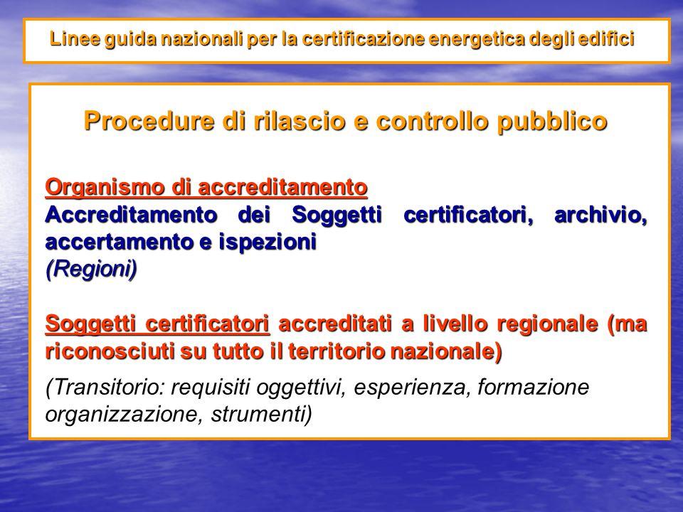 Linee guida nazionali per la certificazione energetica degli edifici Procedure di rilascio e controllo pubblico Organismo di accreditamento Accreditamento dei Soggetti certificatori, archivio, accertamento e ispezioni (Regioni) Soggetti certificatori accreditati a livello regionale (ma riconosciuti su tutto il territorio nazionale) (Transitorio: requisiti oggettivi, esperienza, formazione organizzazione, strumenti)