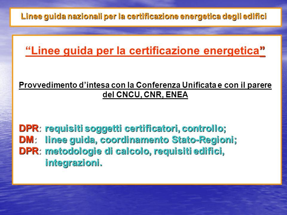 Linee guida nazionali per la certificazione energetica degli edifici Linee guida per la certificazione energetica Provvedimento d'intesa con la Conferenza Unificata e con il parere del CNCU, CNR, ENEA DPR: requisiti soggetti certificatori, controllo; DM: linee guida, coordinamento Stato-Regioni; DPR: metodologie di calcolo, requisiti edifici, integrazioni.