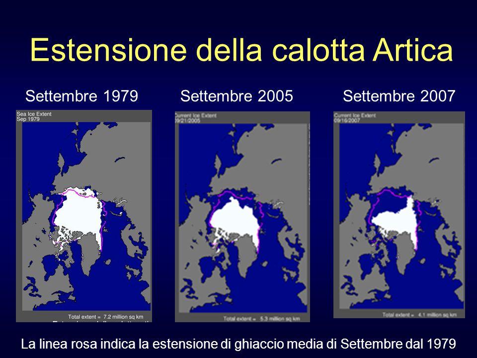 Settembre 1979Settembre 2005Settembre 2007 Estensione della calotta Artica La linea rosa indica la estensione di ghiaccio media di Settembre dal 1979
