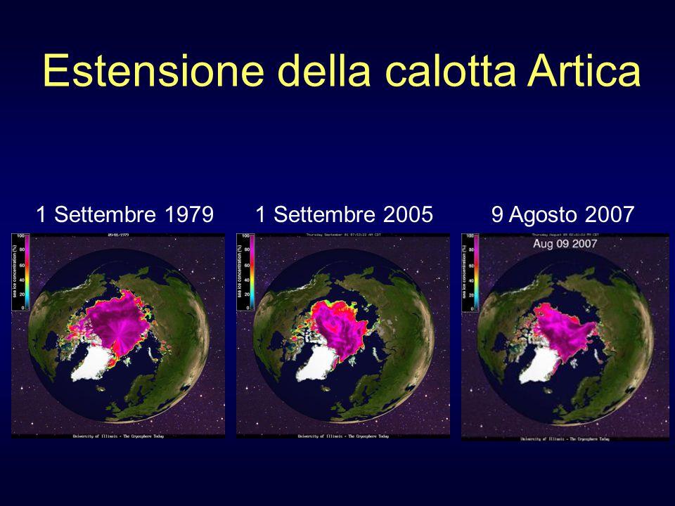 Estensione della calotta Artica 1 Settembre 19791 Settembre 20059 Agosto 2007