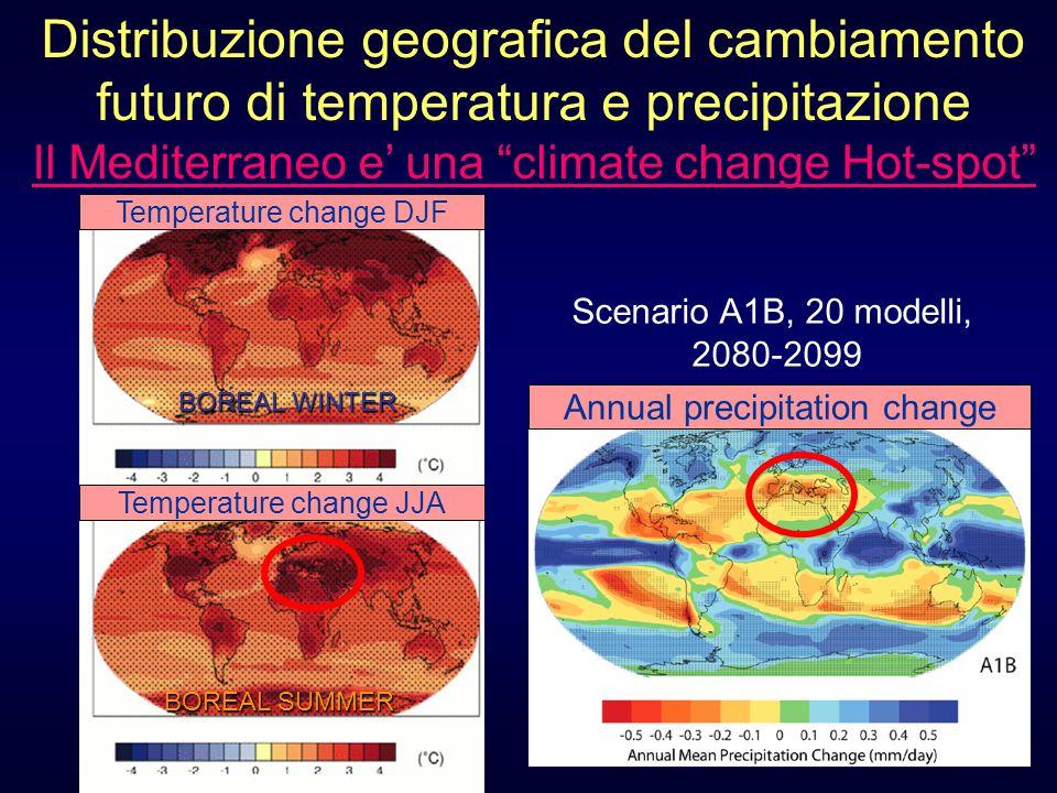 Distribuzione geografica del cambiamento futuro di temperatura e precipitazione Il Mediterraneo e' una climate change Hot-spot Annual precipitation change BOREAL SUMMER BOREAL WINTER Temperature change DJF Temperature change JJA Scenario A1B, 20 modelli, 2080-2099