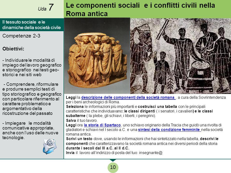 Le componenti sociali e i conflitti civili nella Roma antica Leggi la descrizione delle componenti della società romana, a cura della Sovrintendenza p