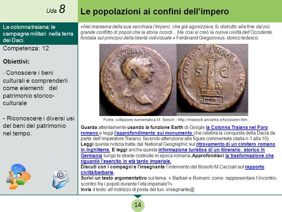 Competenza: 12 Obiettivi: - Conoscere i beni culturali e comprenderli come elementi del patrimonio storico- culturale - Riconoscere i diversi usi del beni del patrimonio nel tempo.