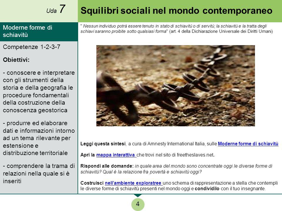 Squilibri sociali nel mondo contemporaneo Leggi questa sintesi, a cura di Amnesty International Italia, sulle Moderne forme di schiavitùModerne forme