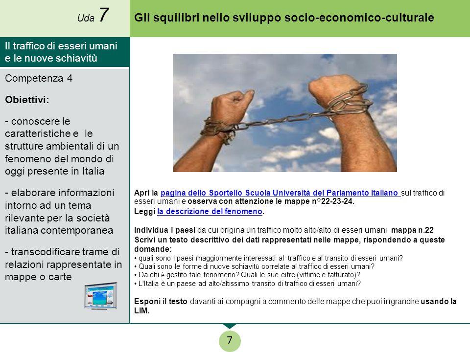 Gli squilibri nello sviluppo socio-economico-culturale Apri la pagina dello Sportello Scuola Università del Parlamento Italiano sul traffico di esseri