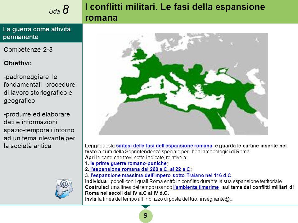 I conflitti militari. Le fasi della espansione romana Leggi questa sintesi delle fasi dell'espansione romana e guarda le cartine inserite nel testo a