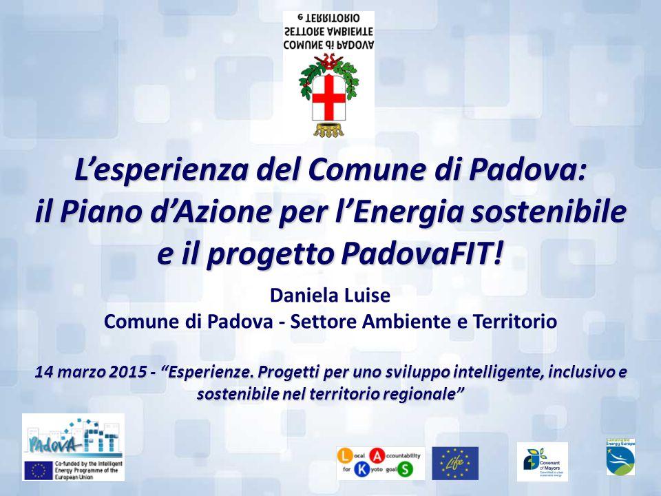 L'esperienza del Comune di Padova: il Piano d'Azione per l'Energia sostenibile e il progetto PadovaFIT! Daniela Luise Comune di Padova - Settore Ambie