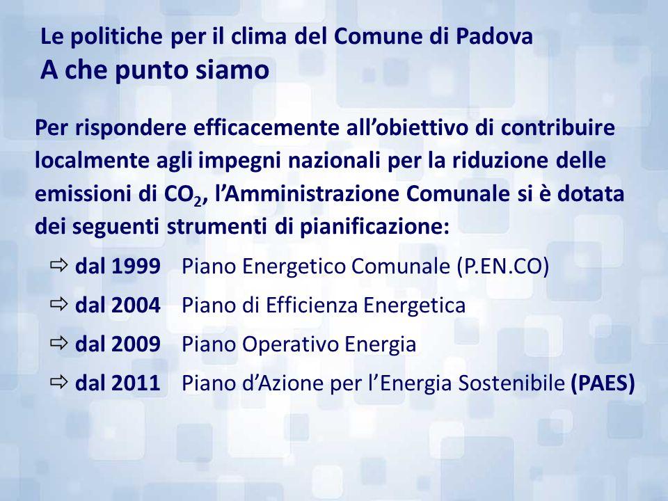 Le politiche per il clima del Comune di Padova A che punto siamo Per rispondere efficacemente all'obiettivo di contribuire localmente agli impegni naz