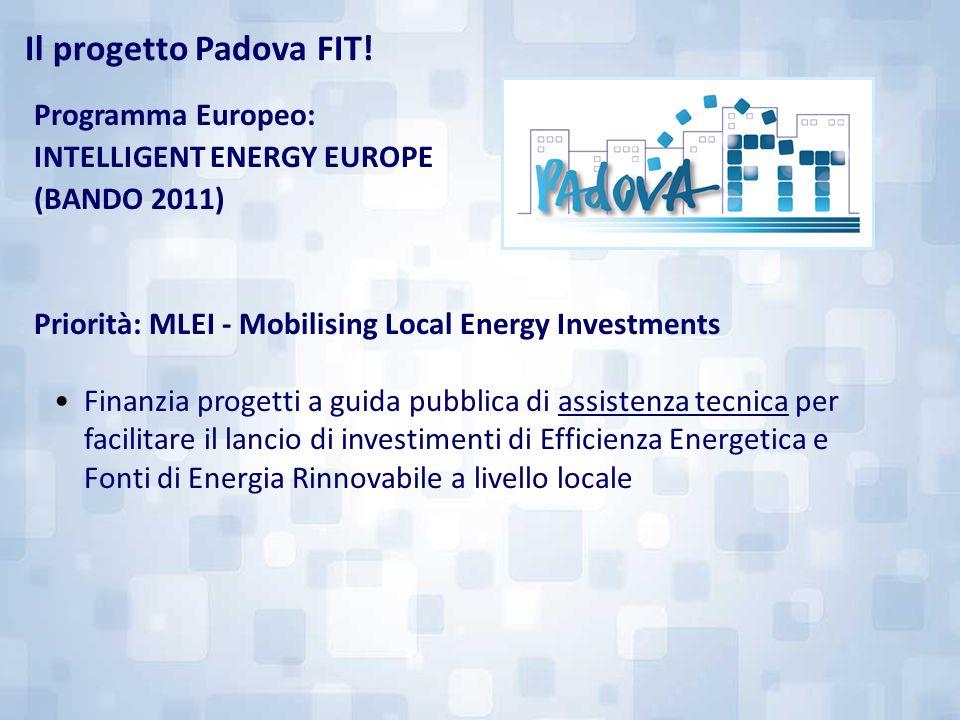 Programma Europeo: INTELLIGENT ENERGY EUROPE (BANDO 2011) Priorità: MLEI - Mobilising Local Energy Investments Finanzia progetti a guida pubblica di a