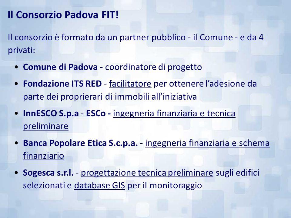 Il consorzio è formato da un partner pubblico - il Comune - e da 4 privati: Comune di Padova - coordinatore di progetto Fondazione ITS RED - facilitat