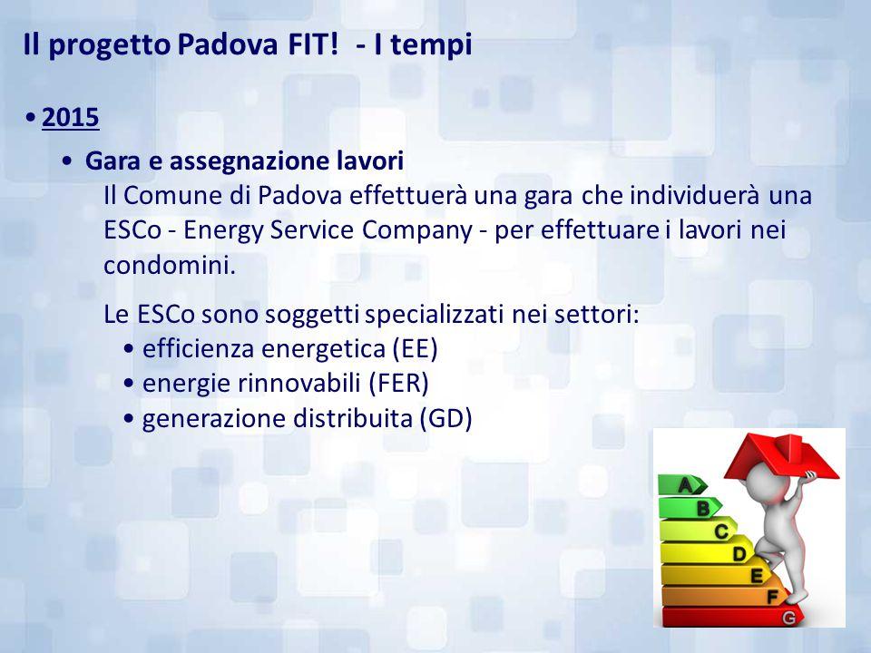 2015 Gara e assegnazione lavori Il Comune di Padova effettuerà una gara che individuerà una ESCo - Energy Service Company - per effettuare i lavori ne