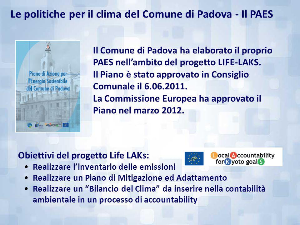 Il Comune di Padova ha elaborato il proprio PAES nell'ambito del progetto LIFE-LAKS. Il Piano è stato approvato in Consiglio Comunale il 6.06.2011. La