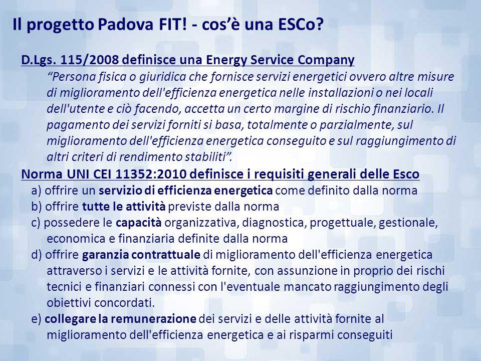 """D.Lgs. 115/2008 definisce una Energy Service Company """"Persona fisica o giuridica che fornisce servizi energetici ovvero altre misure di miglioramento"""