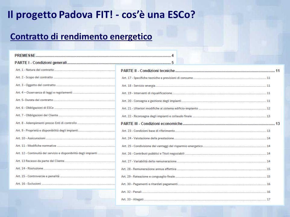 Il progetto Padova FIT! - cos'è una ESCo? Contratto di rendimento energetico