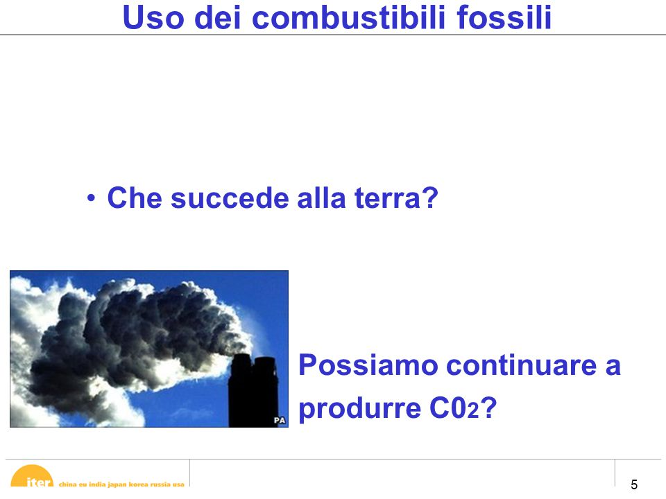 5 5 Uso dei combustibili fossili Che succede alla terra? Possiamo continuare a produrre C0 2 ?
