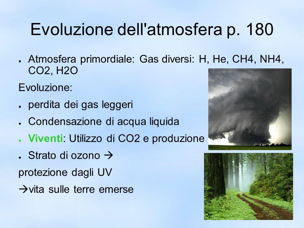 Evoluzione dell'atmosfera p. 180 ● Atmosfera primordiale: Gas diversi: H, He, CH4, NH4, CO2, H2O Evoluzione: ● perdita dei gas leggeri ● Condensazione