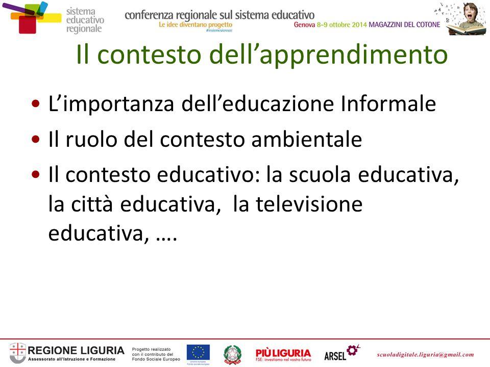 Il contesto dell'apprendimento L'importanza dell'educazione Informale Il ruolo del contesto ambientale Il contesto educativo: la scuola educativa, la città educativa, la televisione educativa, ….