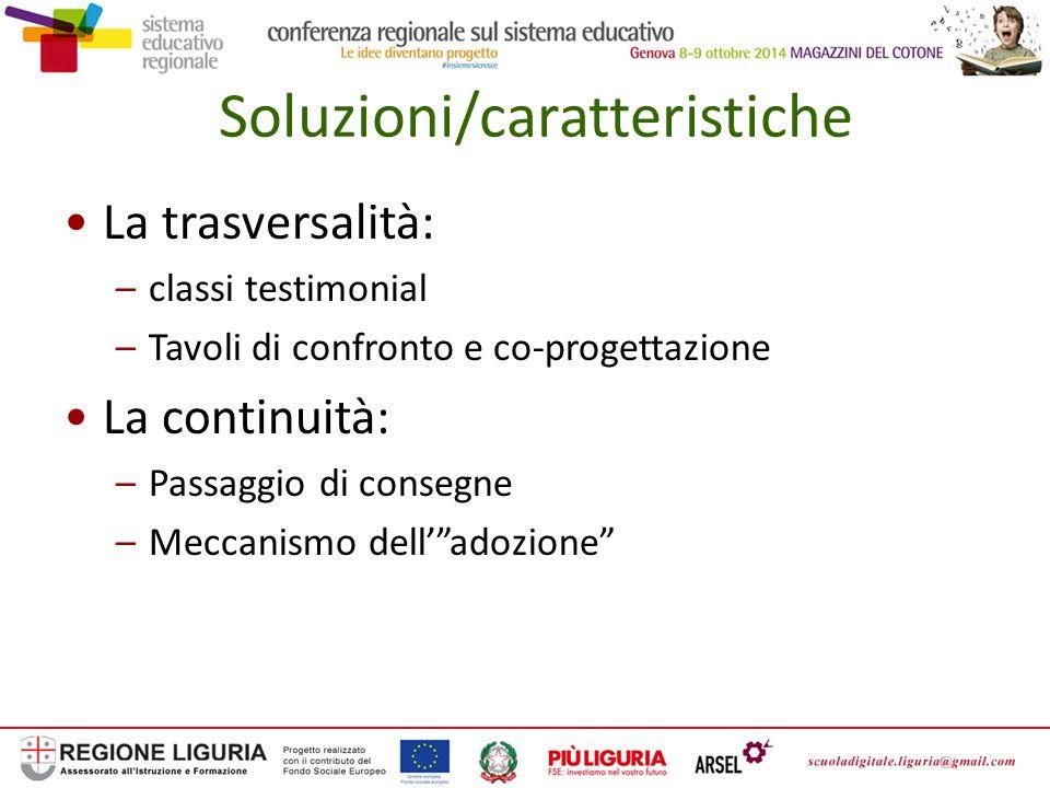 Soluzioni/caratteristiche La trasversalità: –classi testimonial –Tavoli di confronto e co-progettazione La continuità: –Passaggio di consegne –Meccanismo dell' adozione