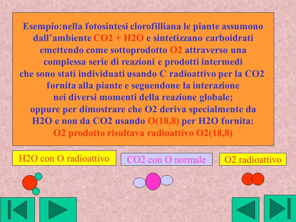 Esempio:nella fotosintesi clorofilliana le piante assumono dall'ambiente CO2 + H2O e sintetizzano carboidrati emettendo come sottoprodotto O2 attraver