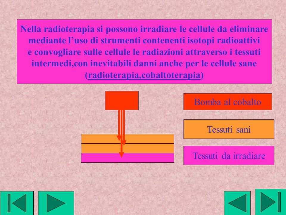 Nella radioterapia si possono irradiare le cellule da eliminare mediante l'uso di strumenti contenenti isotopi radioattivi e convogliare sulle cellule