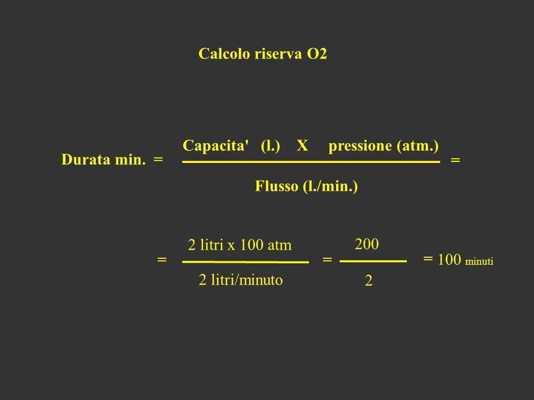 Calcolo riserva O2 Capacita (l.) X pressione (atm.) Durata min.