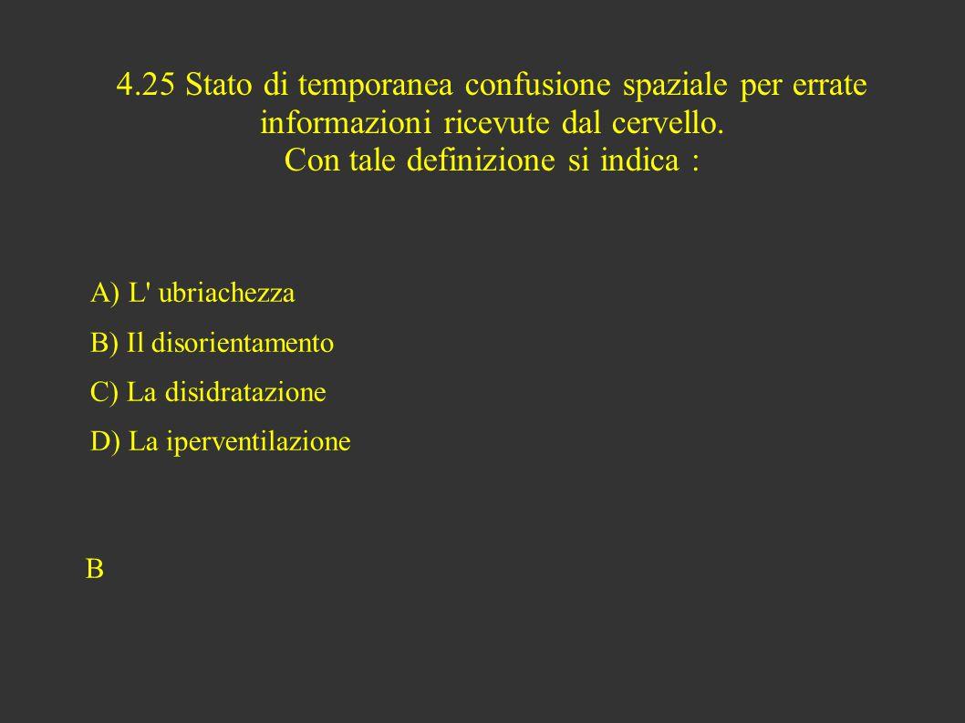 4.25 Stato di temporanea confusione spaziale per errate informazioni ricevute dal cervello.