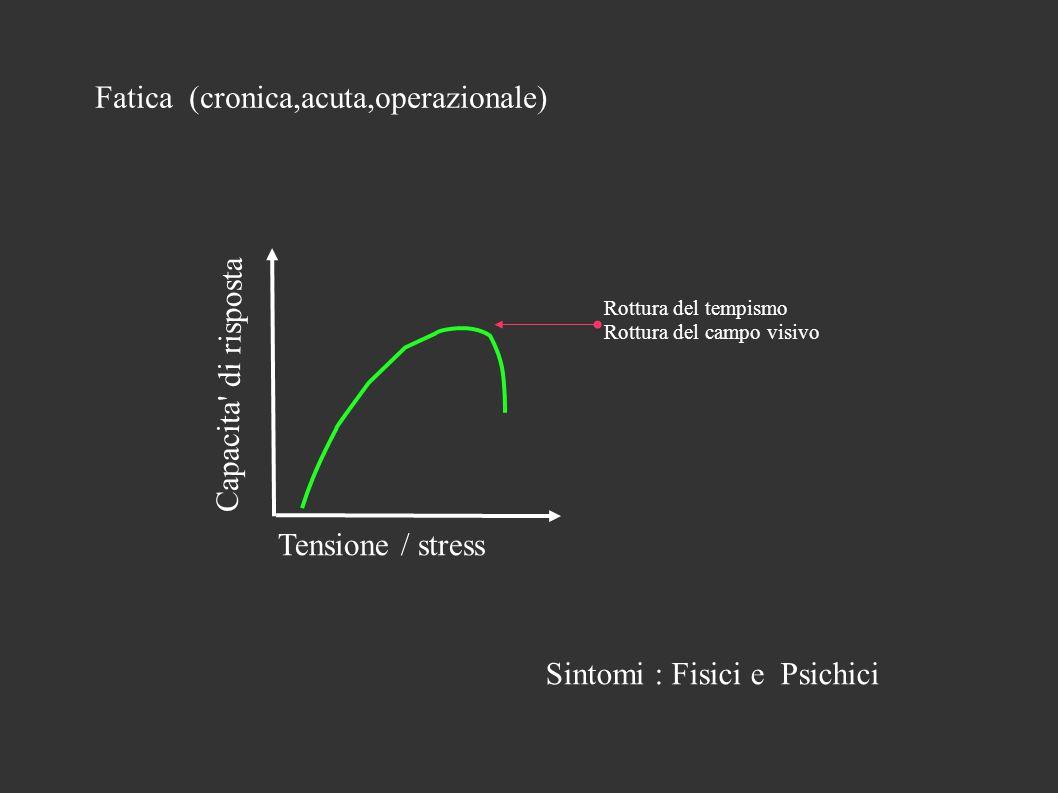 Fatica (cronica,acuta,operazionale) Tensione / stress Capacita di risposta Rottura del tempismo Rottura del campo visivo Sintomi : Fisici e Psichici