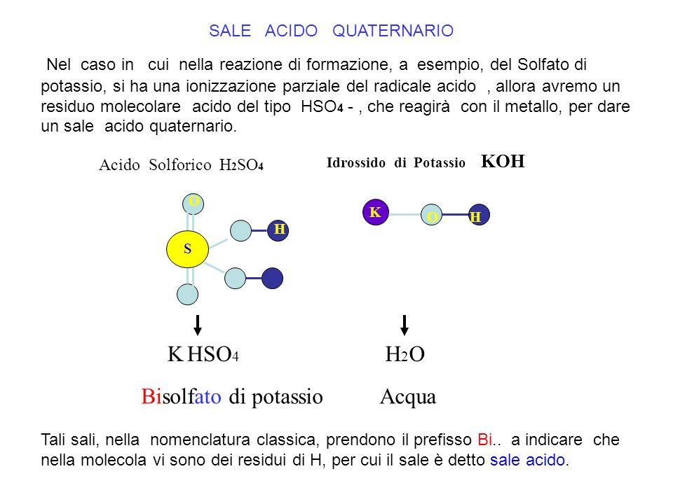 SALE ACIDO QUATERNARIO Acido Solforico H 2 SO 4 Idrossido di Potassio KOH K OH S H O K HSO 4 H 2 O AcquaBisolfato di potassio Nel caso in cui nella re