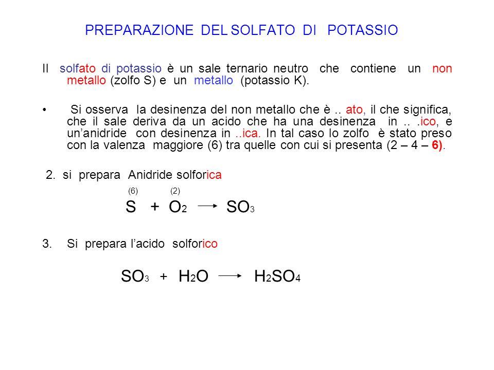 PREPARAZIONE DEL SOLFATO DI POTASSIO Il solfato di potassio è un sale ternario neutro che contiene un non metallo (zolfo S) e un metallo (potassio K).