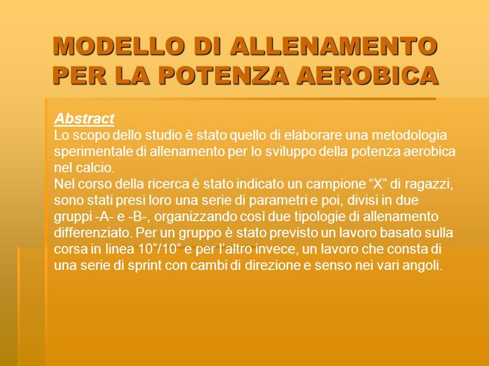 MODELLO DI ALLENAMENTO PER LA POTENZA AEROBICA Abstract Lo scopo dello studio è stato quello di elaborare una metodologia sperimentale di allenamento per lo sviluppo della potenza aerobica nel calcio.