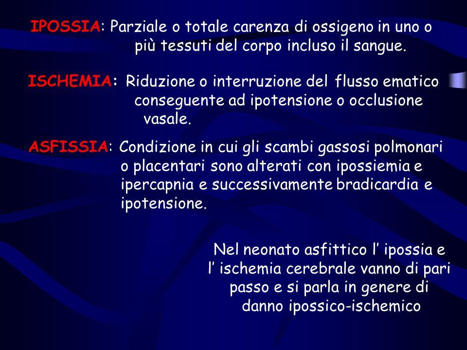 IPOSSIA: Parziale o totale carenza di ossigeno in uno o più tessuti del corpo incluso il sangue. ISCHEMIA: Riduzione o interruzione del flusso ematico