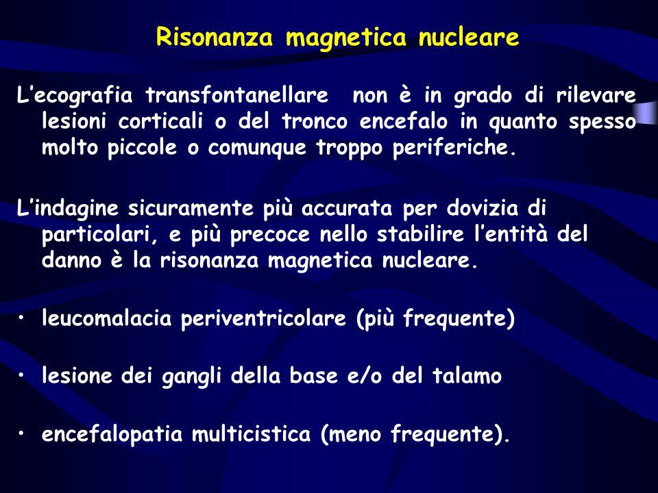 Risonanza magnetica nucleare L'ecografia transfontanellare non è in grado di rilevare lesioni corticali o del tronco encefalo in quanto spesso molto p